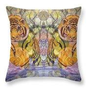 Tiger Spirits In The Garden Of The Buddha Throw Pillow