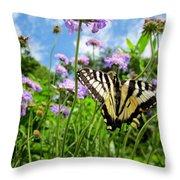 Tiger Swallowtail On Pincushion Flowers Throw Pillow