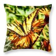 Tiger Swallowtail On Yellow Wildflower Throw Pillow