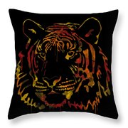 Tiger Watercolor - Black Throw Pillow