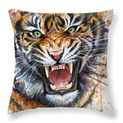Tiger Watercolor Portrait Throw Pillow