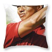 Tiger Woods Artwork Throw Pillow