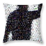 Tiger Woods Fist Pump Mosaic Throw Pillow