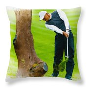 Tiger Woods Hits A Shot From The Rough Throw Pillow