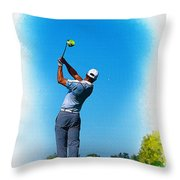 Tiger Woods Plays His Tee Shot On The 15th Hole Throw Pillow
