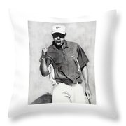 Tiger Woods Pumped Throw Pillow by Devin Millington