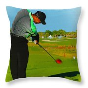 Tiger Woods  - Second Round Of The Honda Classic Throw Pillow