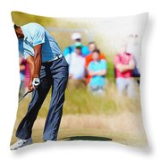 Tiger Woods - The British Open Golf Championship Throw Pillow