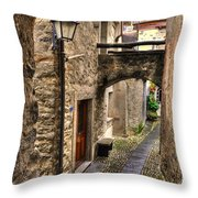 Tight Alley With A Bridge Throw Pillow