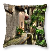 Tight Alley With Palm Trees Throw Pillow