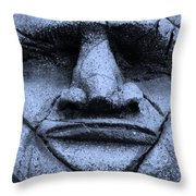 Tiki Mask Cyan Throw Pillow