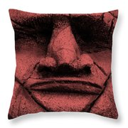Tiki Mask Salmon Throw Pillow