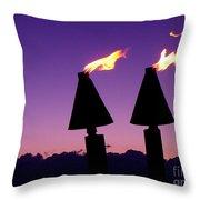 Tiki Torches Throw Pillow