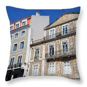 Tiled Building In Chiado District Of Lisbon Throw Pillow