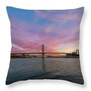 Tilikum Crossing Over Willamette River In Portland Oregon Throw Pillow