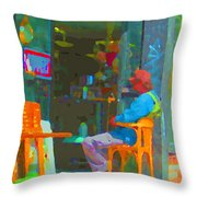 Tim Hortons Coffee And Donuts Sunday Aternoon At Tims Plateau Montreal Cafe Scene Carole Spandau Throw Pillow