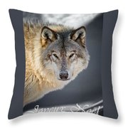Timber Wolf Christmas Card French 21 Throw Pillow