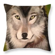 Timber Wolf In Summer Throw Pillow