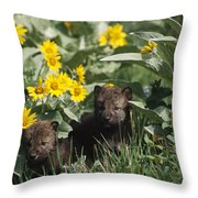 Timber Wolf Pups And Flowers North Throw Pillow