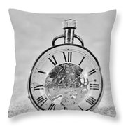 Time In The Sand In Black And White Throw Pillow