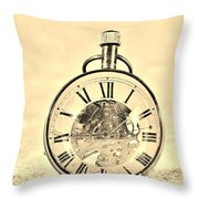 Time In The Sand In Sepia Throw Pillow