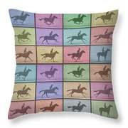 Time Lapse Motion Study Horse Color Throw Pillow