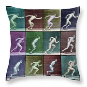 Time Lapse Motion Study Man Running Color Throw Pillow