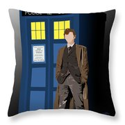 Time Lord And His Tardis Throw Pillow