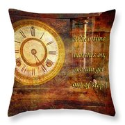Time Marching Throw Pillow