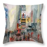 Time Square New York Throw Pillow