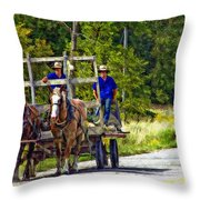 Time Travelers Impasto Throw Pillow