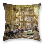 Time Traveling In Palermo - Sicily Throw Pillow