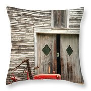 Red Tractor And Old Barn Ossipee New Hampshire Throw Pillow