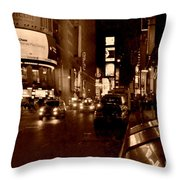 Times Square At Night - In Copper Throw Pillow