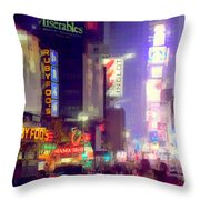 Times Square At Night - Columns Of Light Throw Pillow