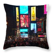 Times Square Crowds Throw Pillow