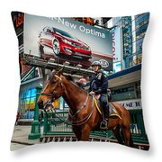 Times Square Horse Power Throw Pillow