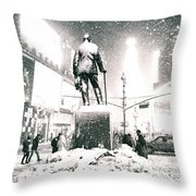 Times Square In The Snow - New York City Throw Pillow
