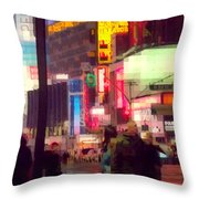 Times Square - Man Walking With Yellow Bag Throw Pillow