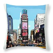 Times Square Nyc Cartoon-style Throw Pillow