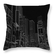 Times Square Nyc White On Black Throw Pillow by Meandering Photography
