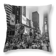 Times Square With Fog Throw Pillow