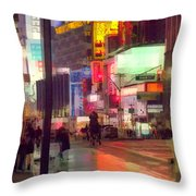Times Square With Runaway Horse Throw Pillow