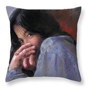 Timid Girl Throw Pillow