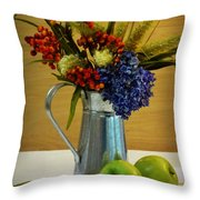 Tin Bouquet And Green Apples Throw Pillow