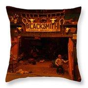 Tinkertown Blacksmith Shop Throw Pillow by Jeff Swan