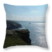 Man On The Edge Tintagel Throw Pillow