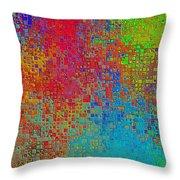 Tiny Blocks Digital Abstract - Bold Colors Throw Pillow