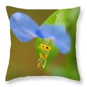 Tiny Blue Flower Throw Pillow