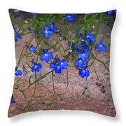 Tiny Blue Flowers Throw Pillow